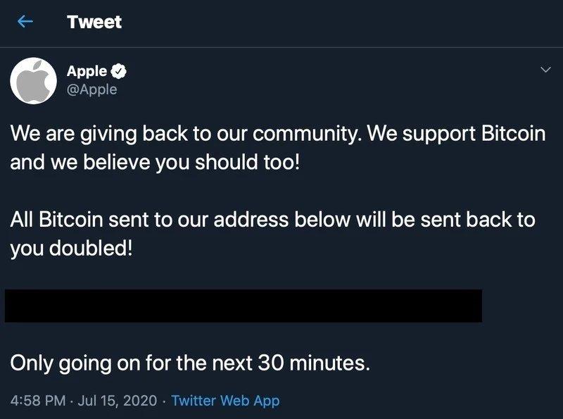 mensagem do ataque no Twitter