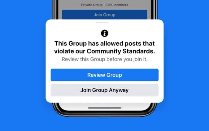 novo alerta para grupos bloqueados no passado pelo Facebook
