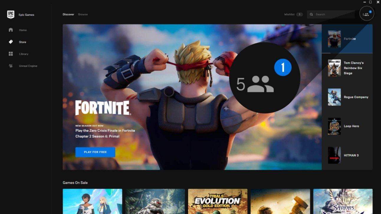 Epic Games Store amigos e conversas