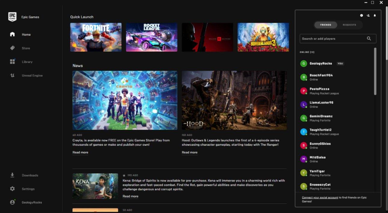 novo sistema de mensagens da epic games store