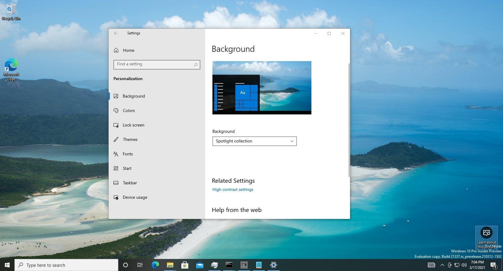 Windows 10 alterar wallpaper