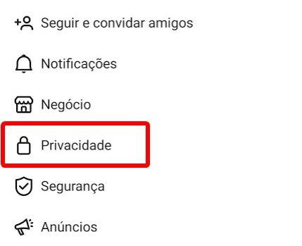 privacidade do instagram