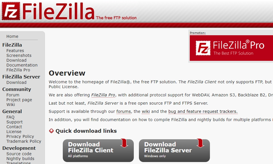 Filezilla website