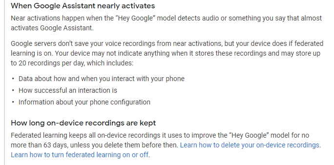 novo registo de ativação da google assistente
