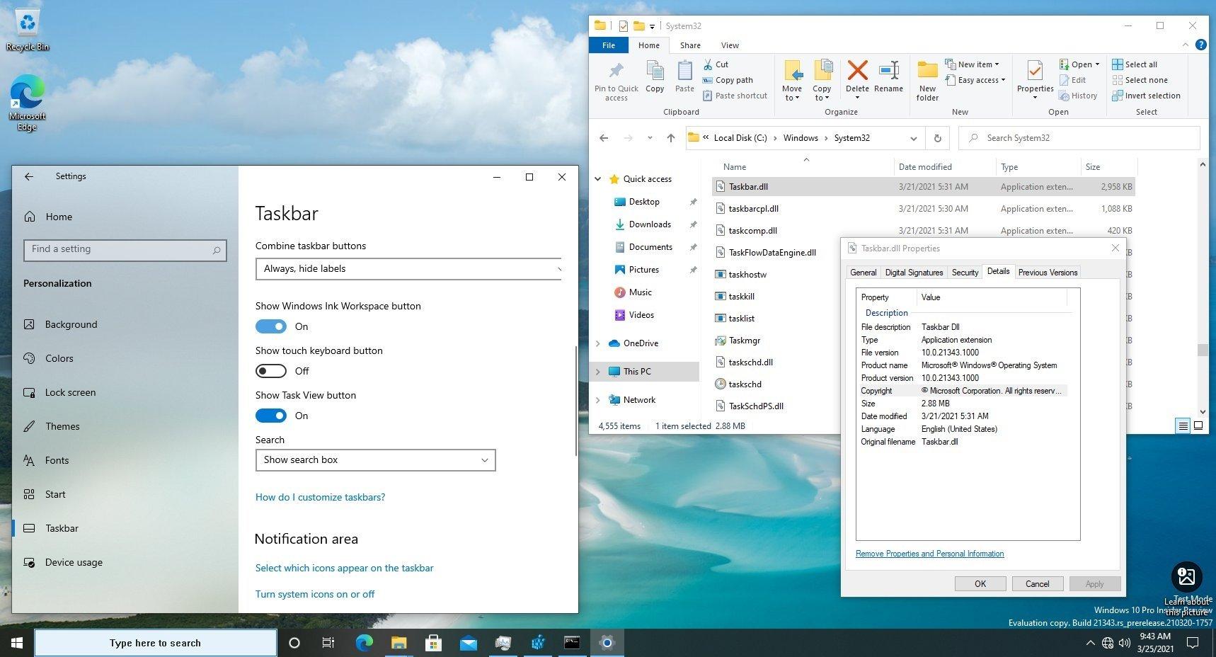 Microsoft barra de tarefas num ficheiro dedicado
