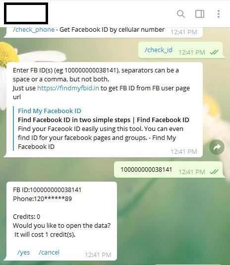 bot telegram leak dados facebook