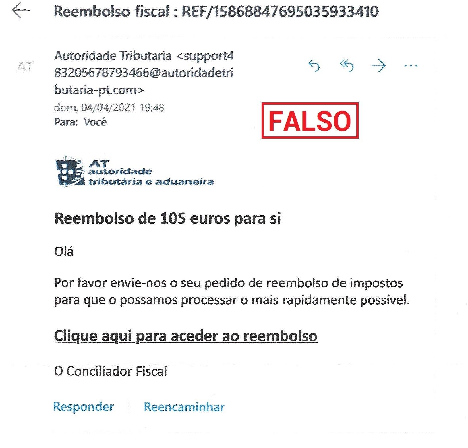 exemplo de email falso