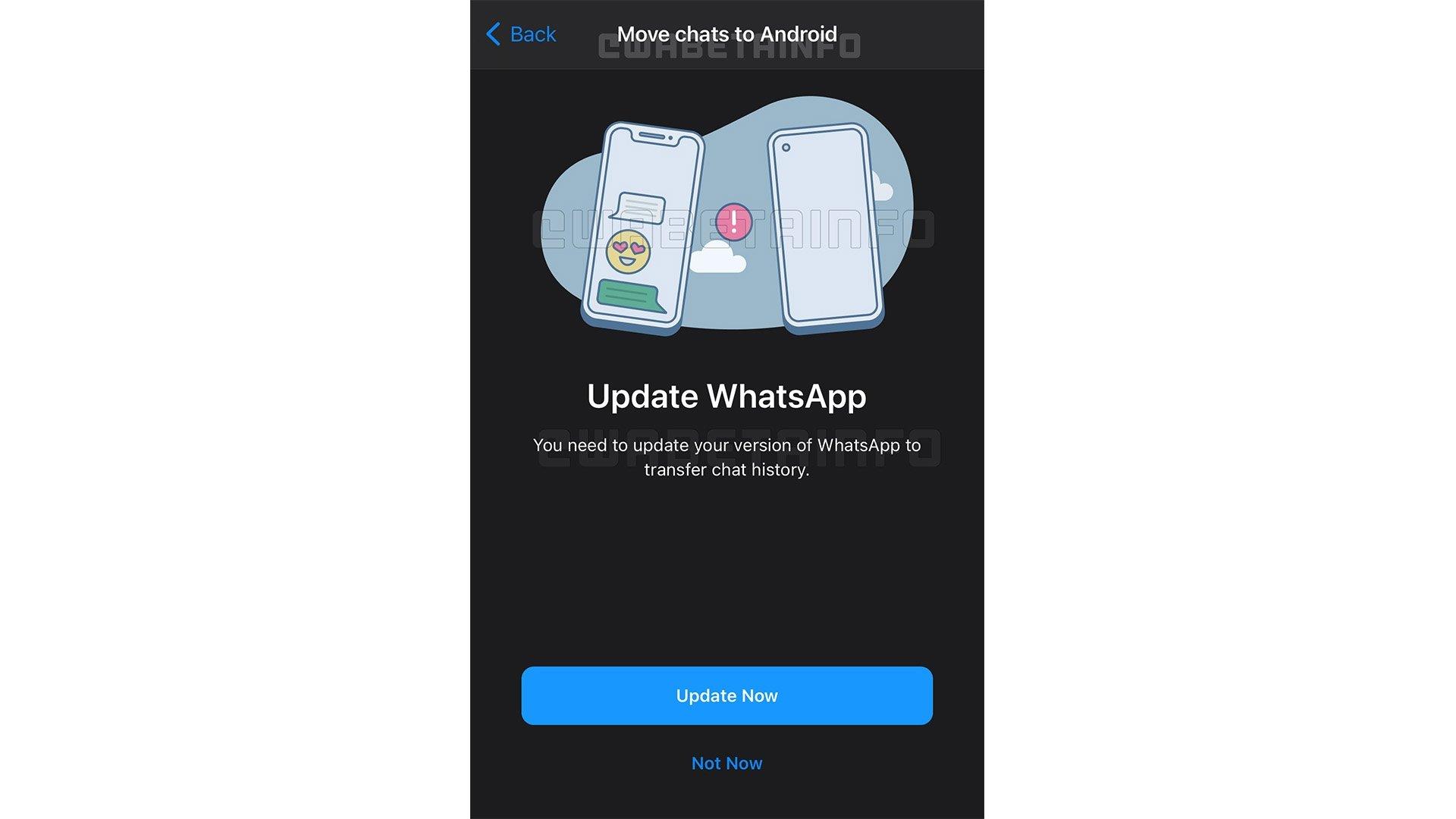 WhatsApp migrar conversas