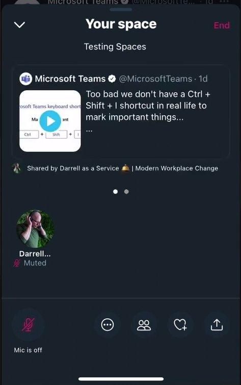Twitter spaces mensagens fixas nas salas