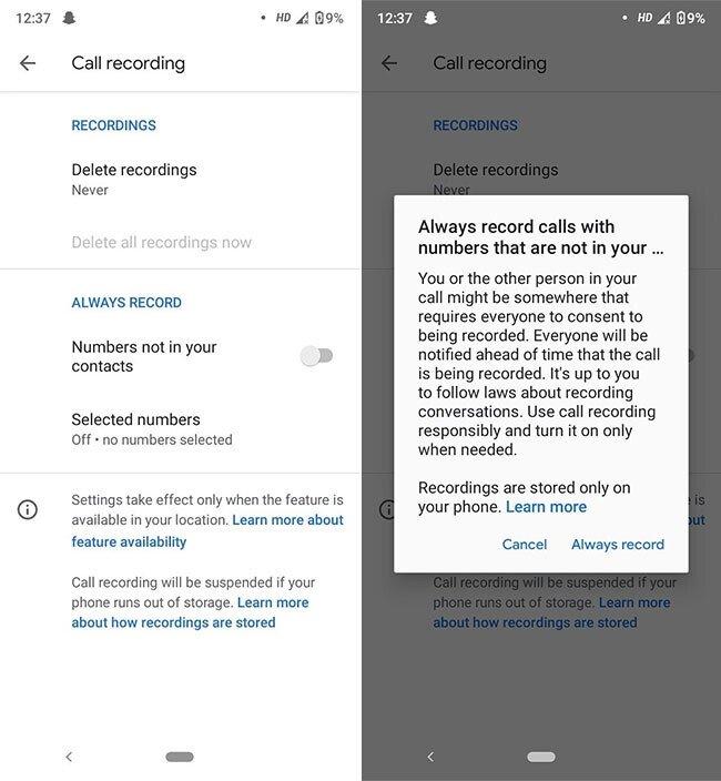 gravação automática telefone google