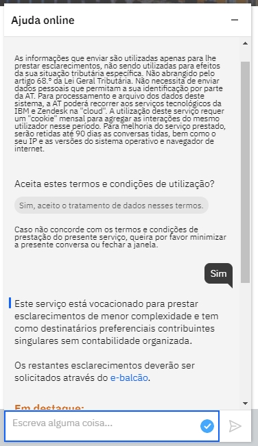 chatbot portal das finanças