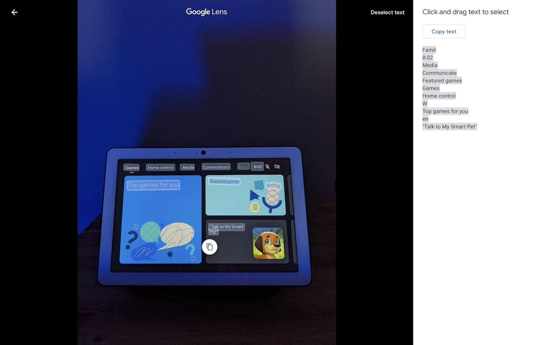 Google lens no fotos da google