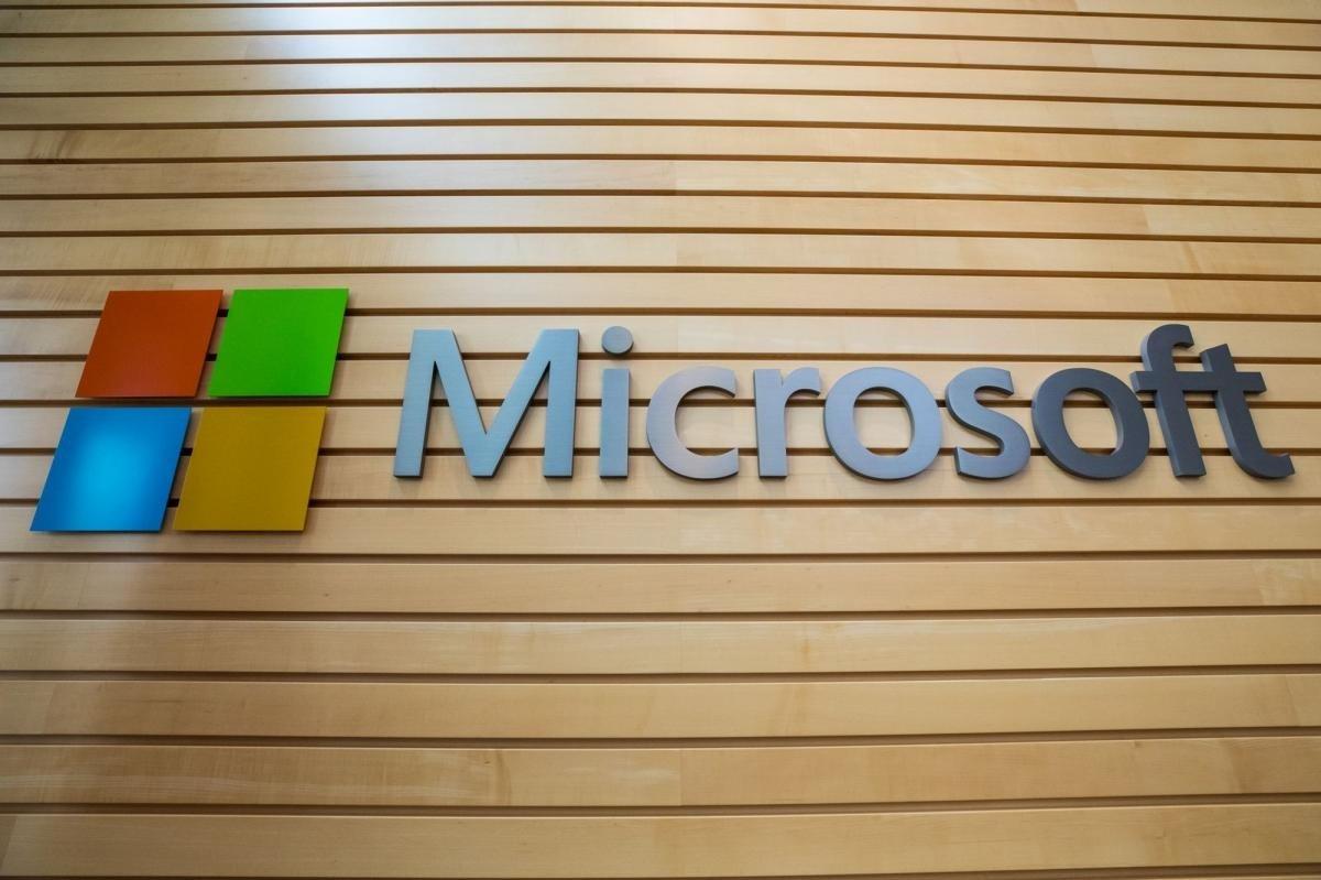 Microsoft logo na parede