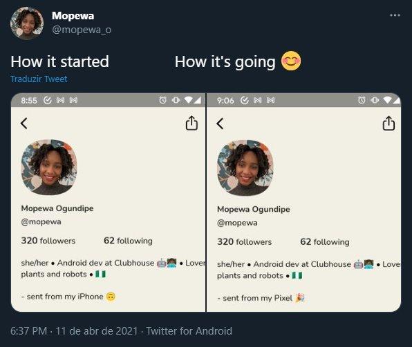 tweet da programadora sobre app clubhouse para Android