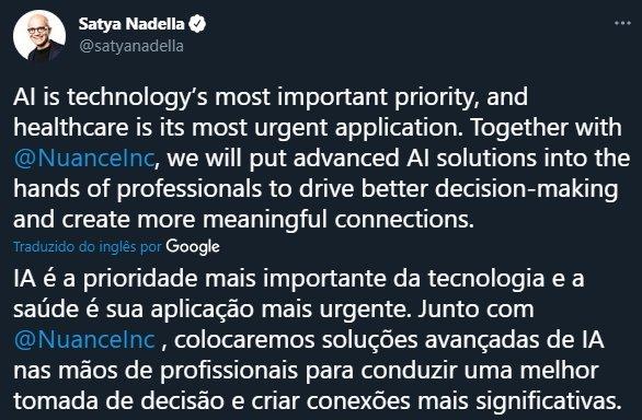 comentário de ceo da Microsoft
