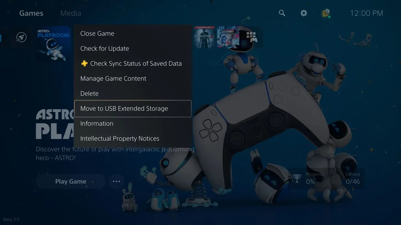 nova opção de mover jogos ps5 externa