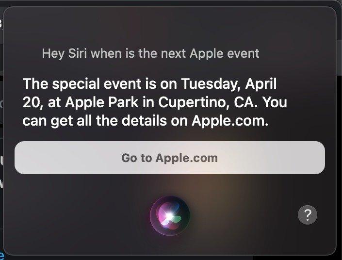 questão da siri sobre evento da apple