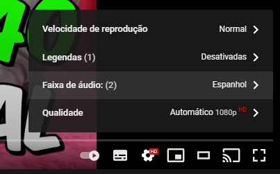 YouTube selecionar diferentes audios no vídeo
