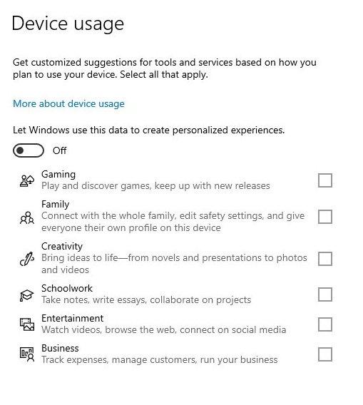 uso do dispositivo no Windows configurações