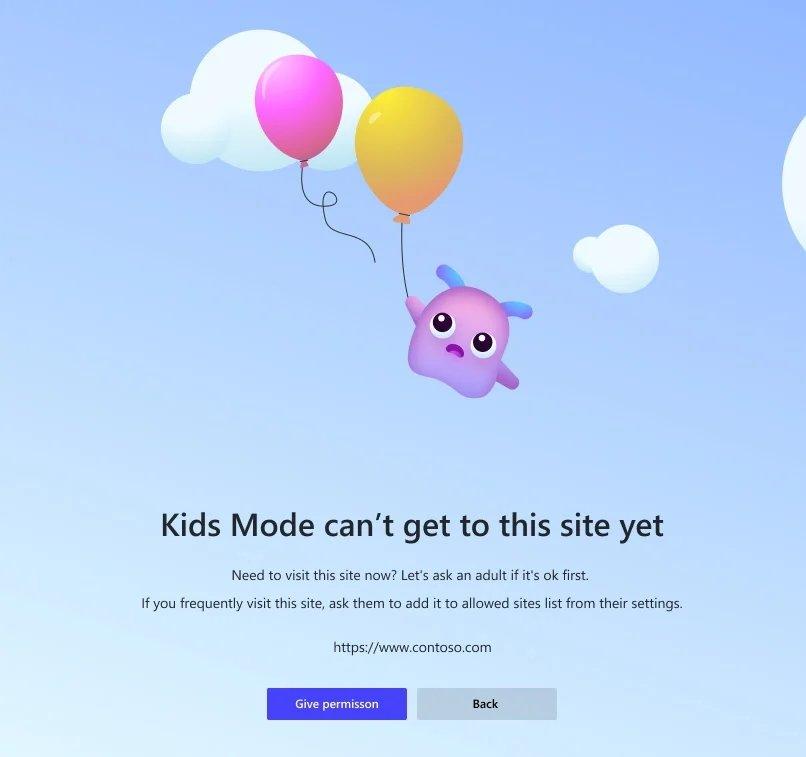 site bloqueado no modo para crianças