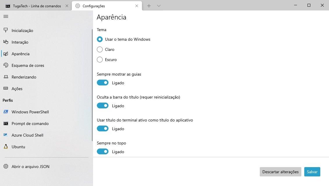 terminal windows opções