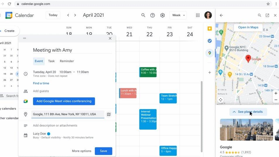 Google Maps no calendário