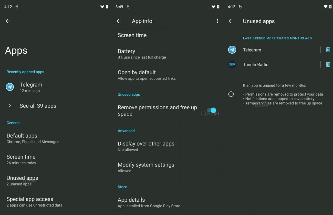 hivernar apps pouco usadas Android 12