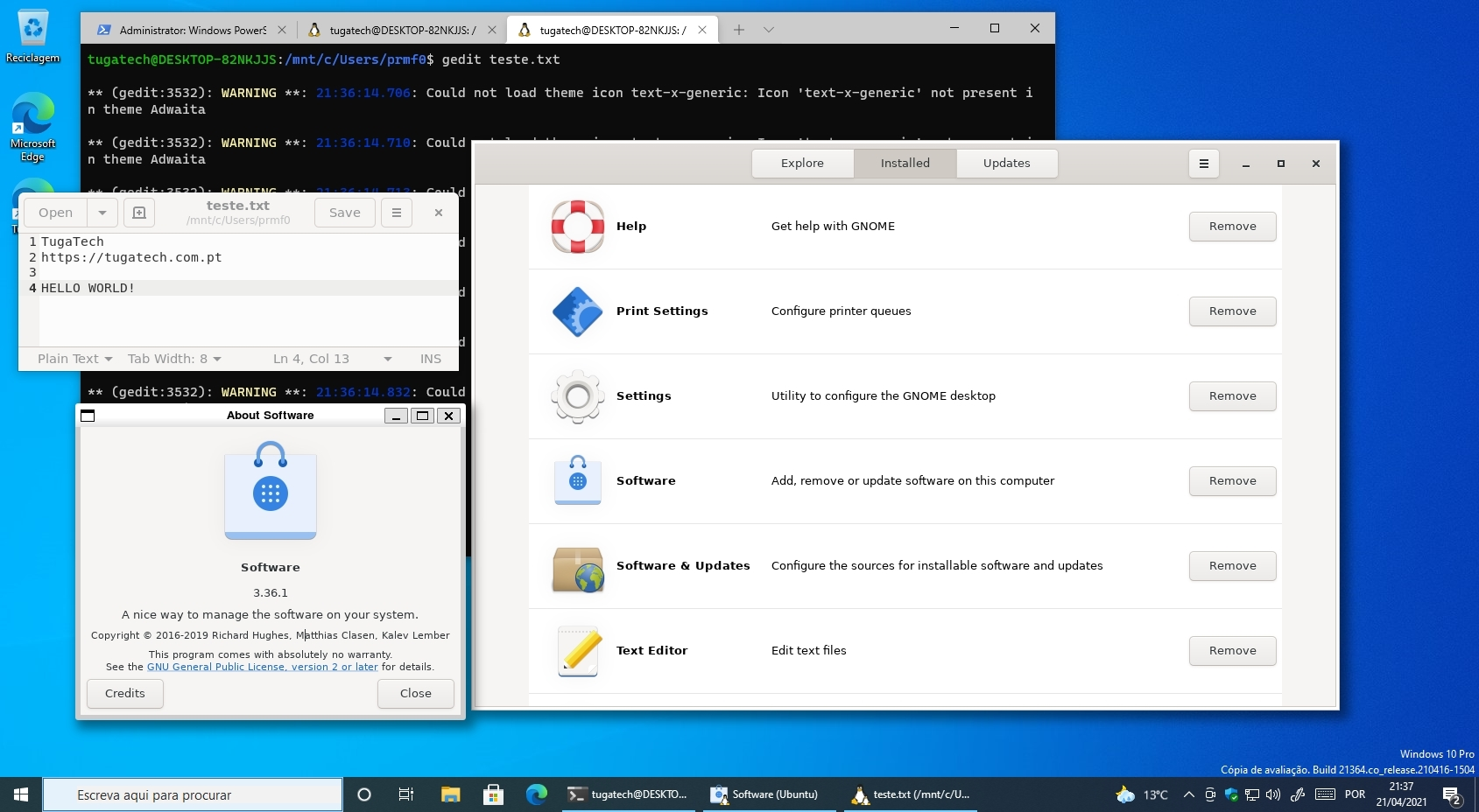 subsistema linux no Windows