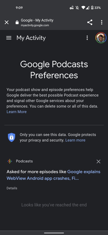 google podcasts preferências e gostos