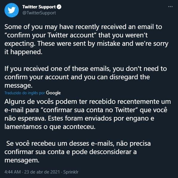 mensagem de resposta do twitter