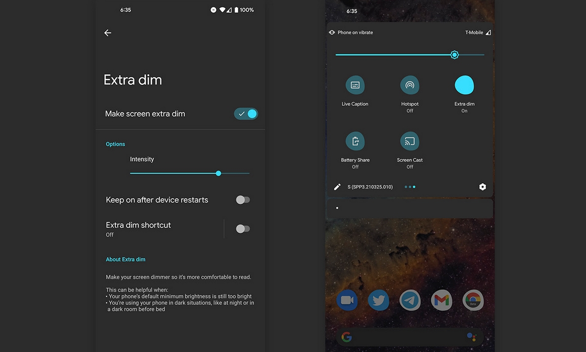 Android extra dim