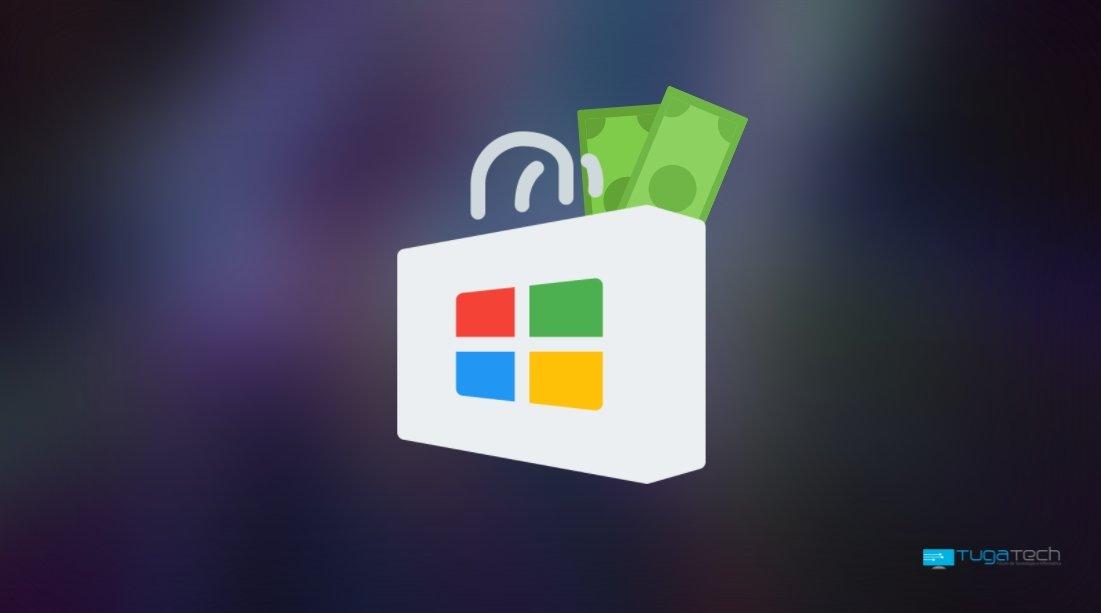 Microsoft Store com dinheiro no saco