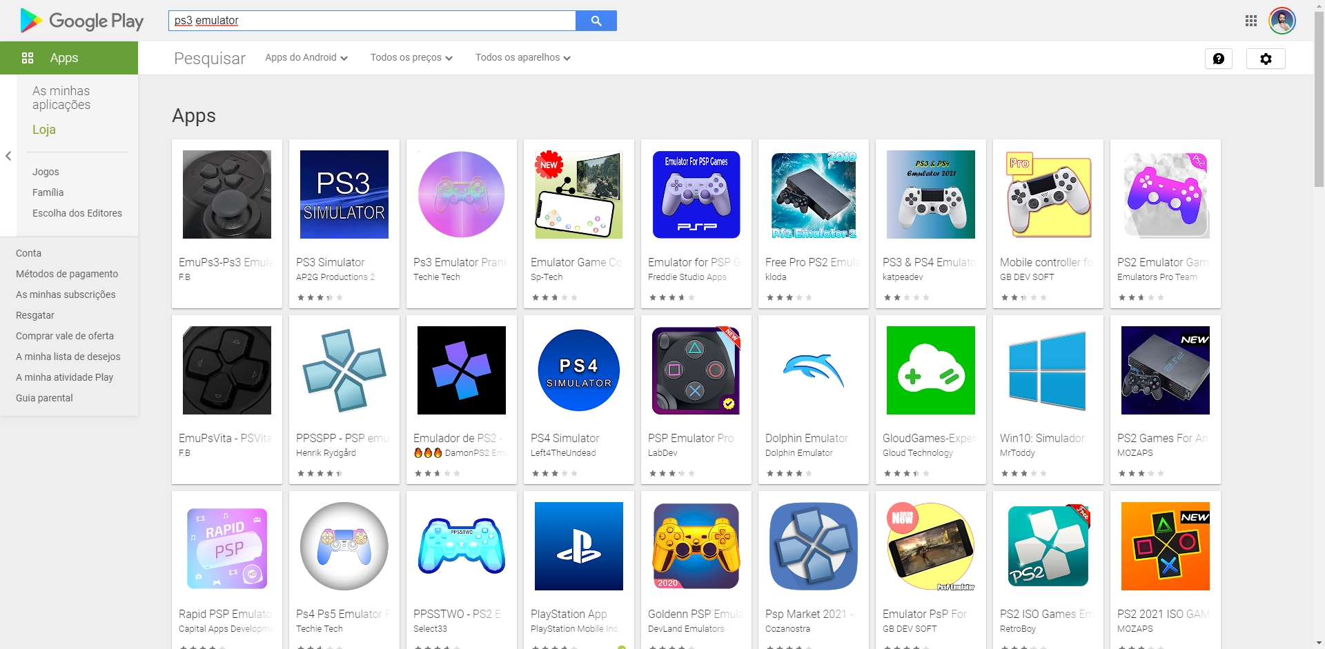 google play store apps emuladores ps3