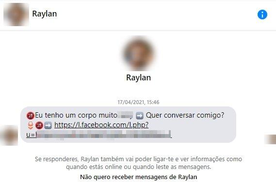 mensagem inicial spam