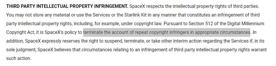 direitos de autor violação starlink