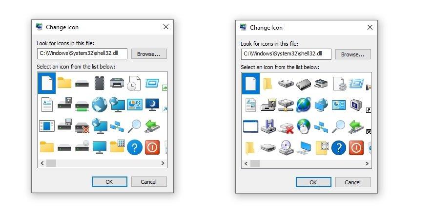 alterações de ícones no windows 10