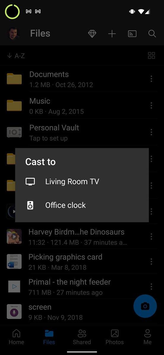 OneDrive com suporte a chromecast