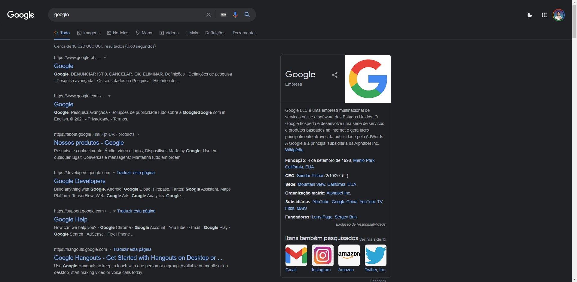 modo escuro de pesquisa na Google