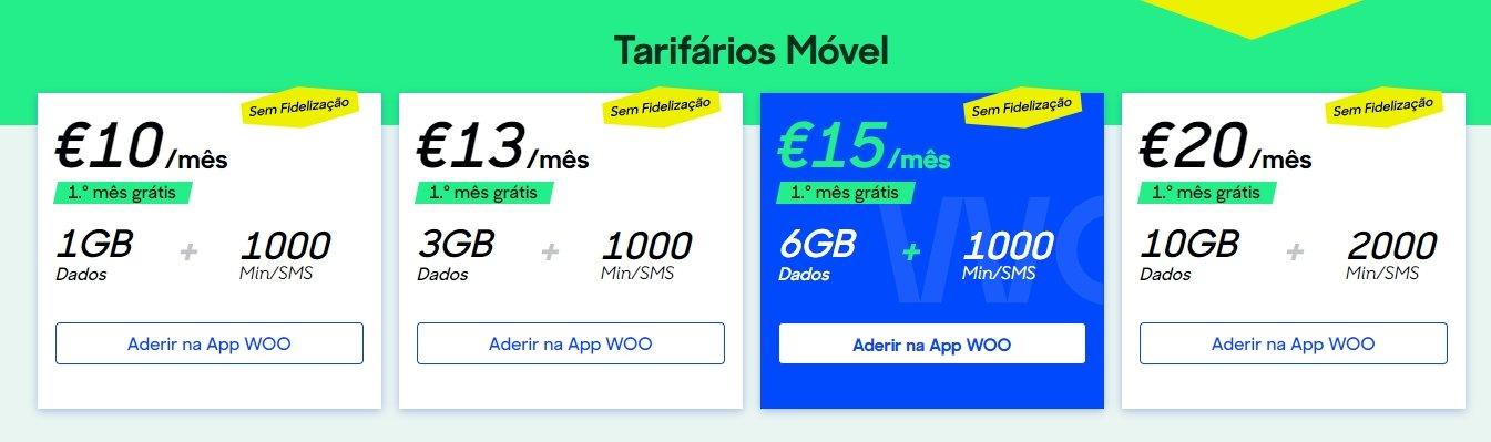 planos de tarifário WOO