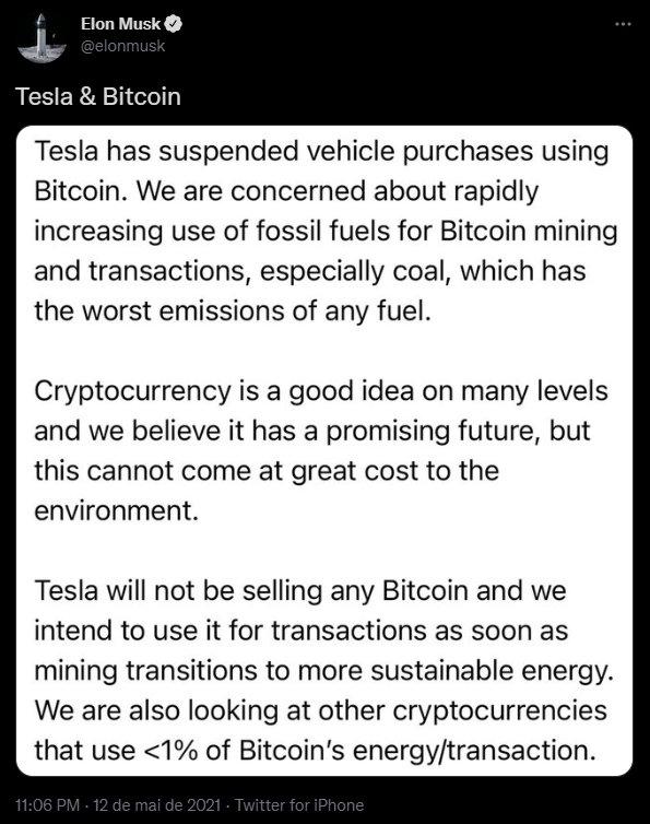 tesla e bitcoins