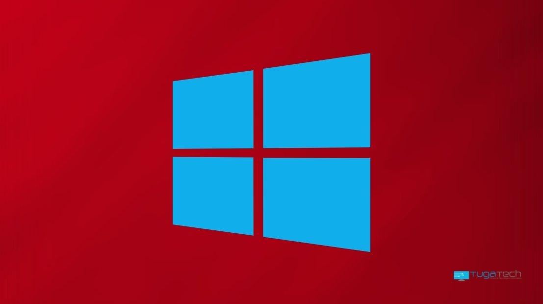 Windows 10 logo sobre fundo vermelho