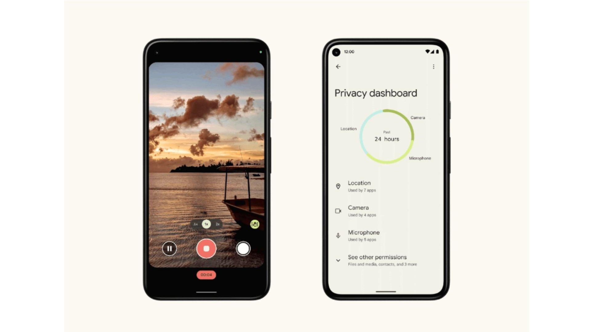 centro de privacidade Android 12