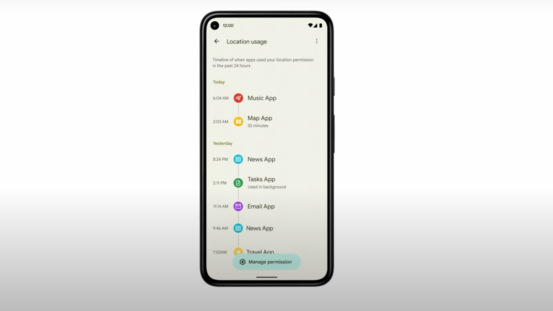Android 12 recolha de dados