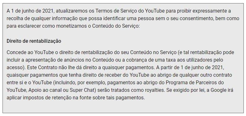 novos termos do youtube