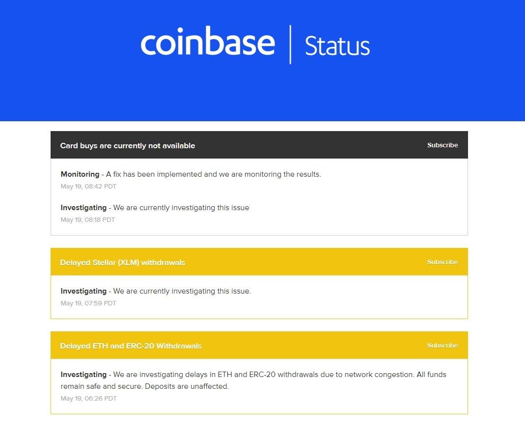 coinbase status da rede