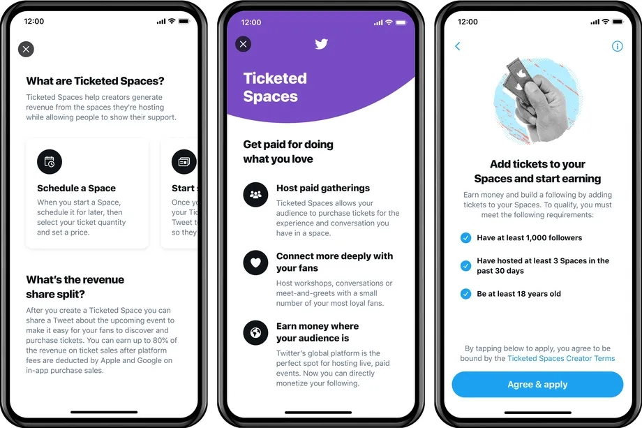 Twitter spaces com tickets