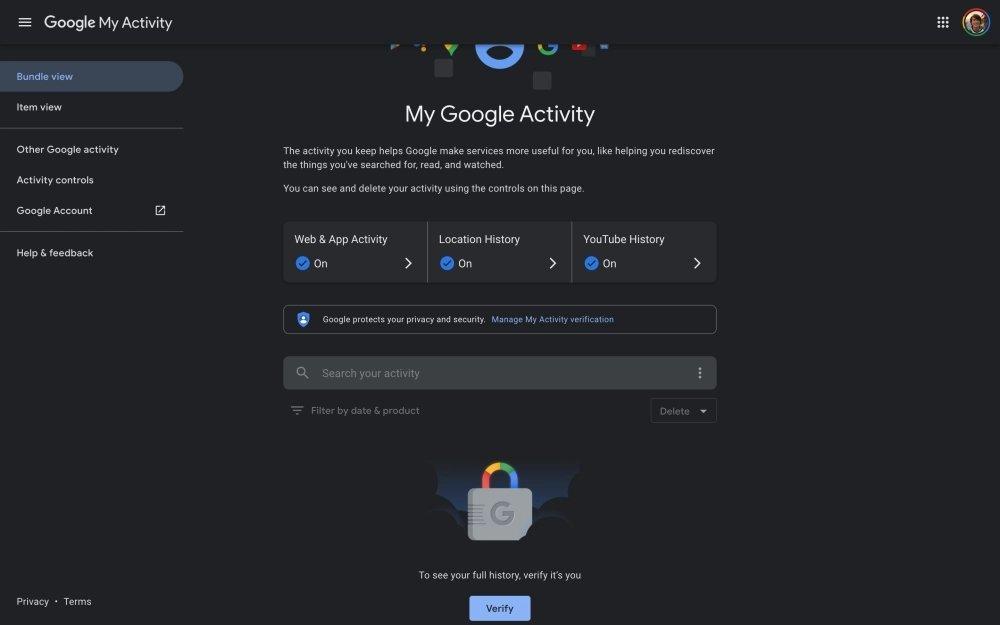 google histórico web verificação