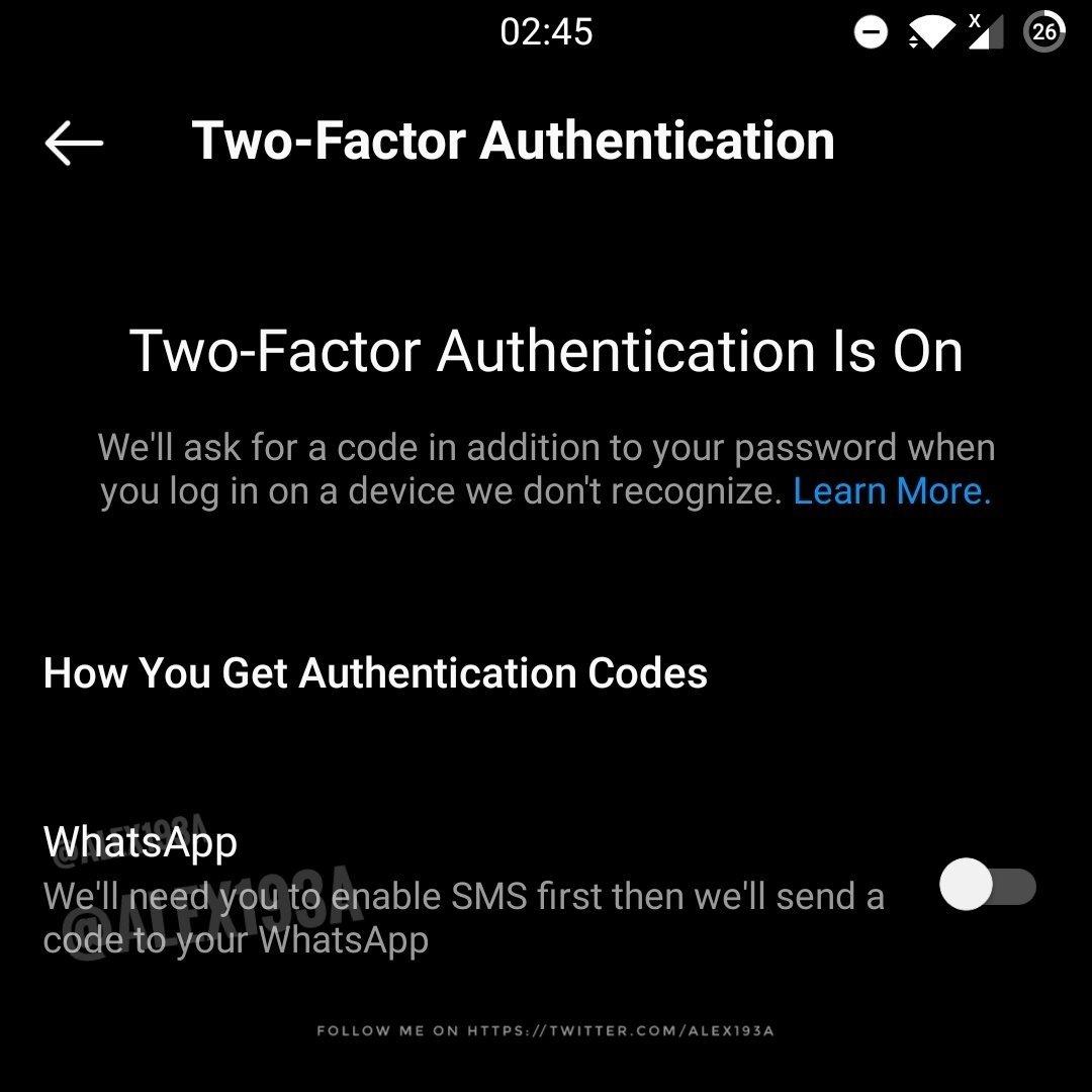 código de autenticação via whatsapp no instagram