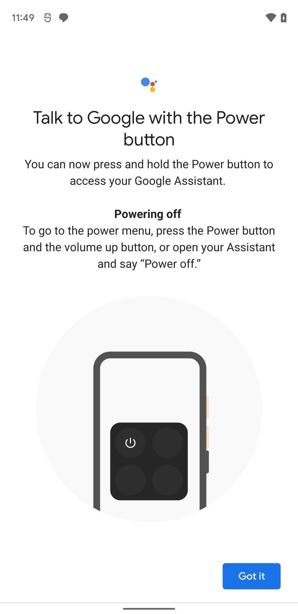 assistente power desligar smartphone