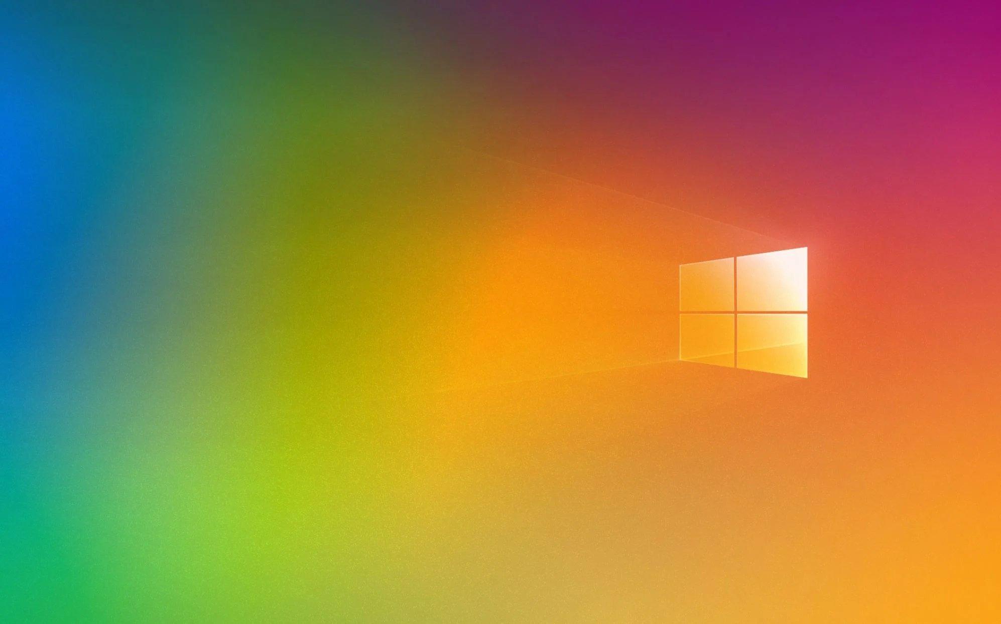 Windows 10 logo sobre fundo colorido